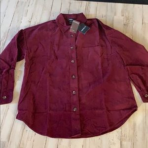 New woman's forever 21 burgundy button up shirt